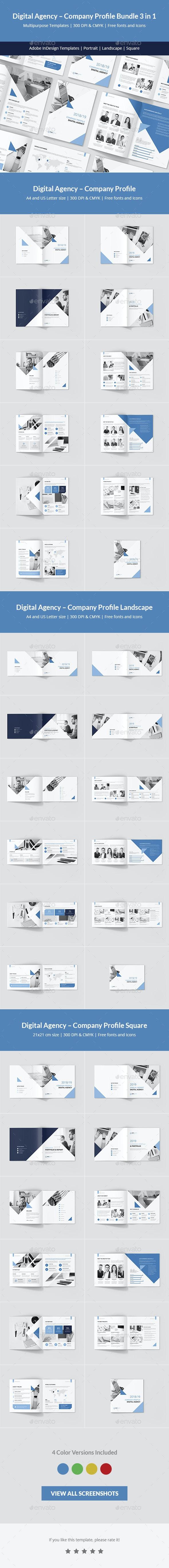 Digital Agency – Company Profile Bundle 3 in 1 - Corporate Brochures
