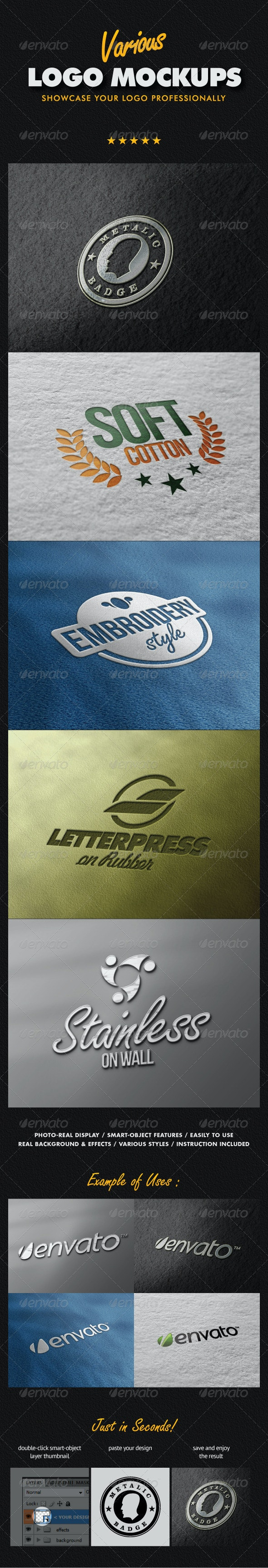 Various Logo Mock-ups - Logo Product Mock-Ups