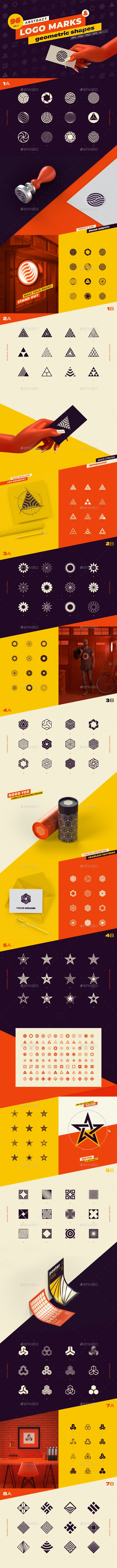 96 Abstract Logo Marks & Geometric Shapes Collection - Graphics