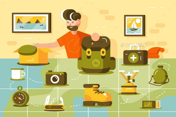 Tourist Going Hiking - Sports/Activity Conceptual
