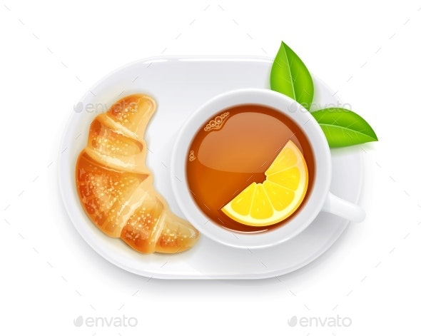 Tea Cup and Croissant on Plate - Food Objects