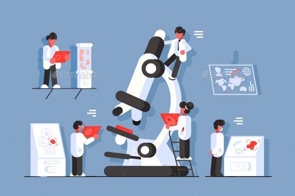 Doctors with Microscope in Laboratory - Health/Medicine Conceptual