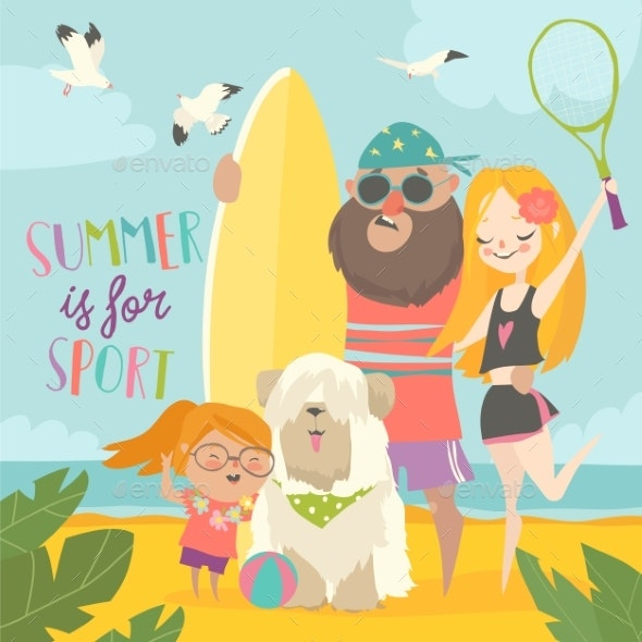 Sporty Family with Dog on the Beach - Sports/Activity Conceptual