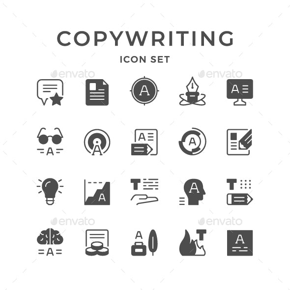 Set Icons of Copywriting - Man-made objects Objects