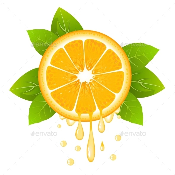 Orange Slice with Juice Drops - Food Objects