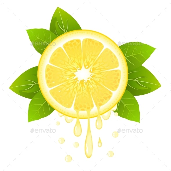 Lemon Slice with Juice Drops - Food Objects