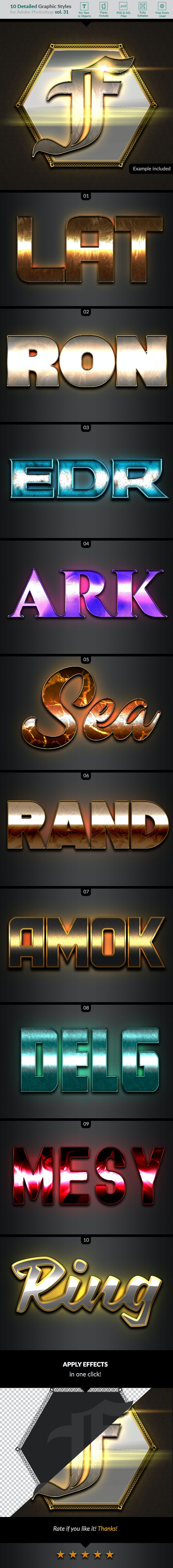 10 Text Effects Vol. 31 - Styles Photoshop