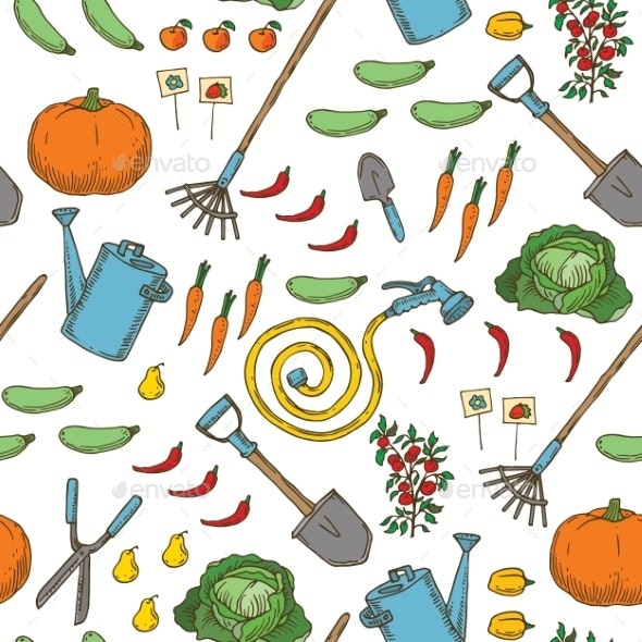 Seamless Pattern of Garden Tools, Fruits and Vegetables - Miscellaneous Vectors