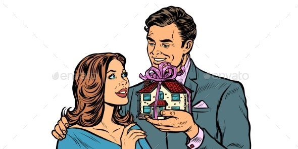 Husband and Wife House As a Gift - People Characters