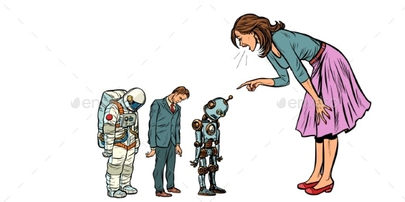 The Woman Scolds Businessman, Spaceman and Robot - Miscellaneous Vectors