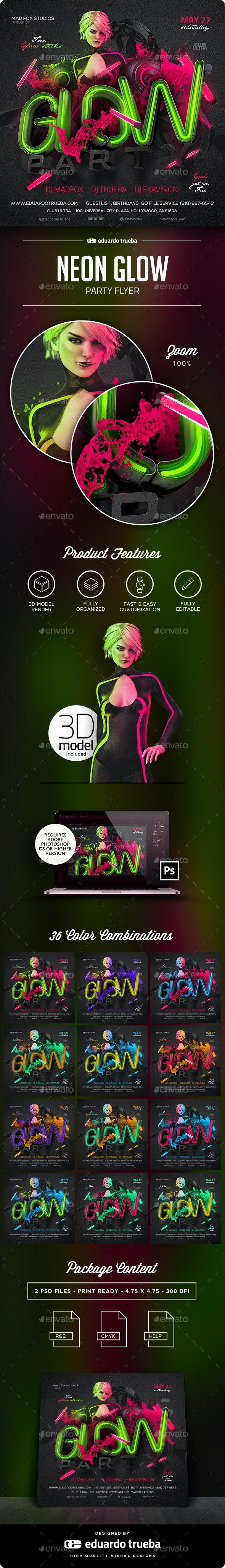 Neon Glow Party Flyer - Clubs & Parties Events