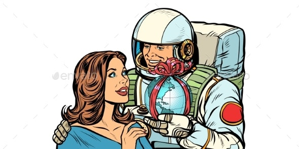 Couple in Love Astronaut Gives a Woman the Earth - Miscellaneous Conceptual