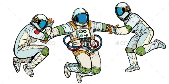 Three Astronauts in Space in Zero Gravity Isolated - People Characters