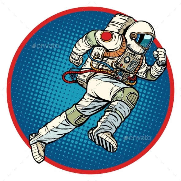 Astronaut Runs Forward Round Emblem - People Characters