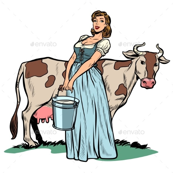 Woman Milker Cow Bucket Milk Agriculture - Animals Characters