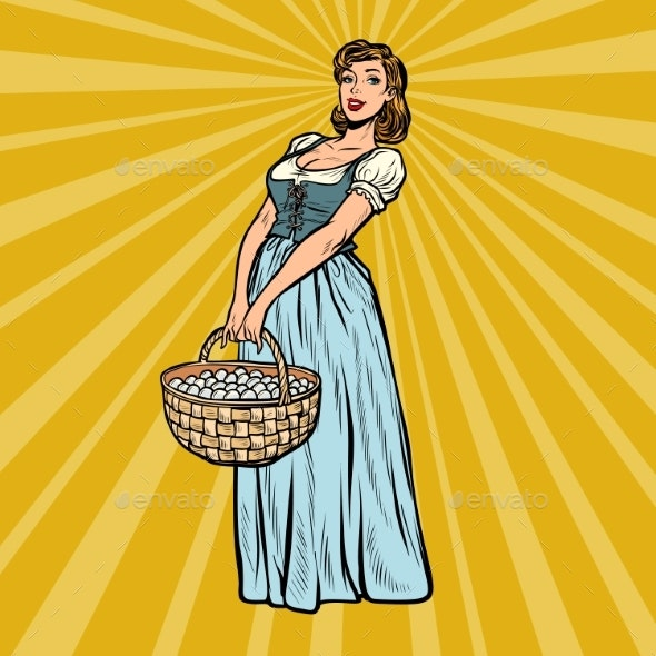 Village Woman with a Basket of Eggs - People Characters