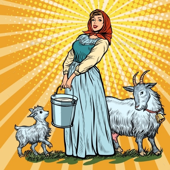 Village Woman with Bucket of Milk and Goats - Animals Characters