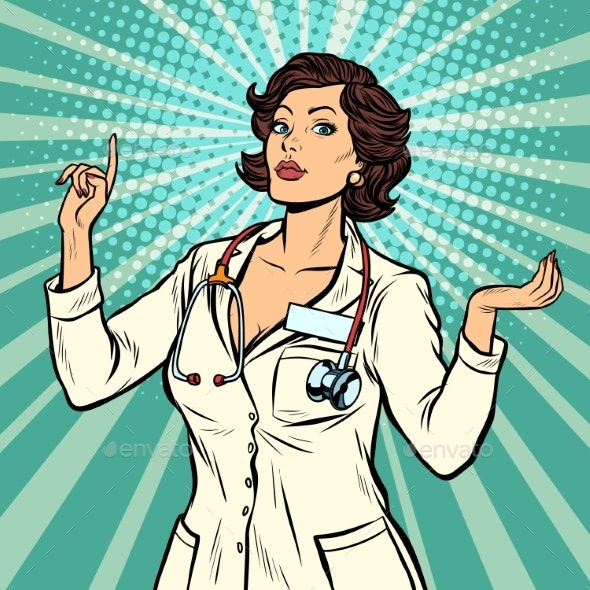 Woman Doctor Presentation Gesture - People Characters