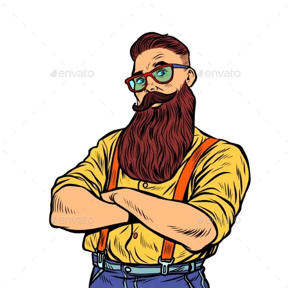 Bearded Hipster with Glasses Isolated on White - People Characters