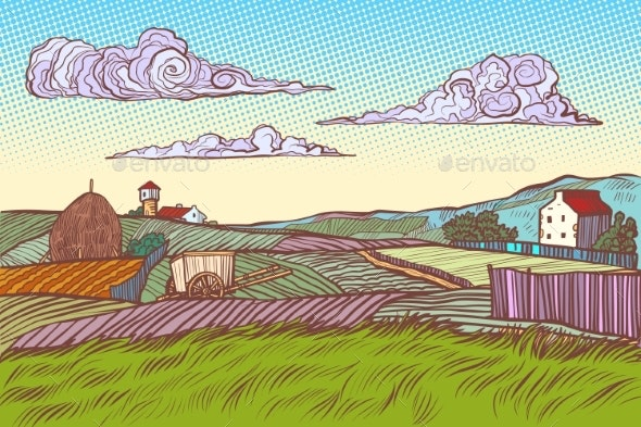 Rural Landscape Green Field Village Houses - Landscapes Nature