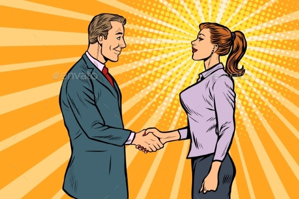 Man and Woman Businessman Handshake - Concepts Business