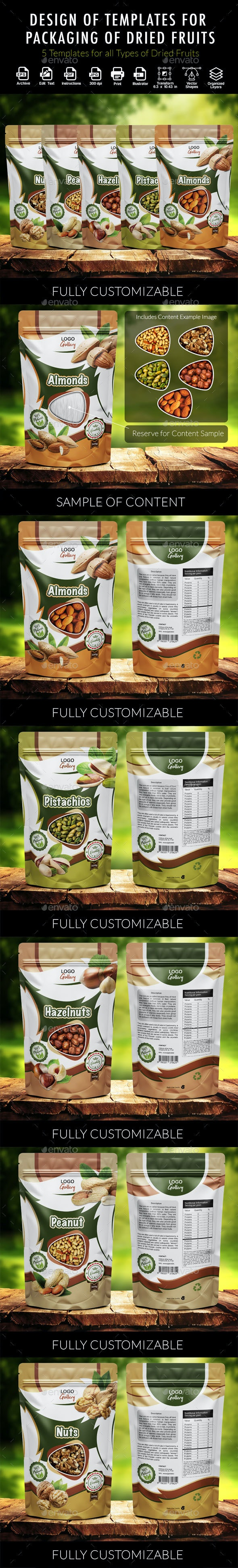 Design of Templates for Packaging of Dried Fruits - Packaging Print Templates