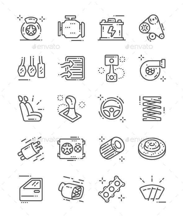 Auto Parts Line Icons - Technology Icons