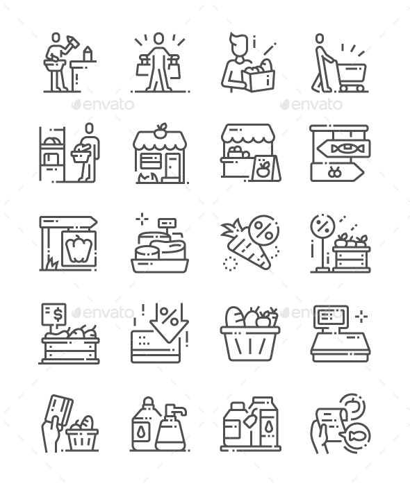 Grocery Line Icons - Business Icons
