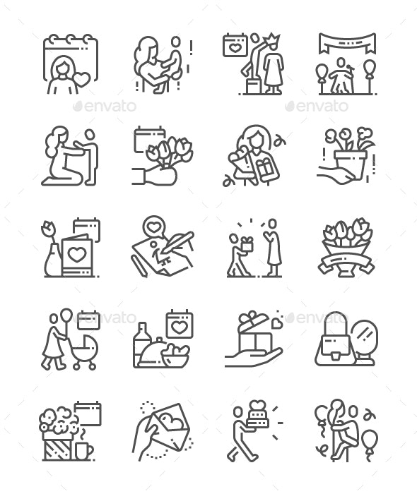 Mothers Day Line Icons - People Characters