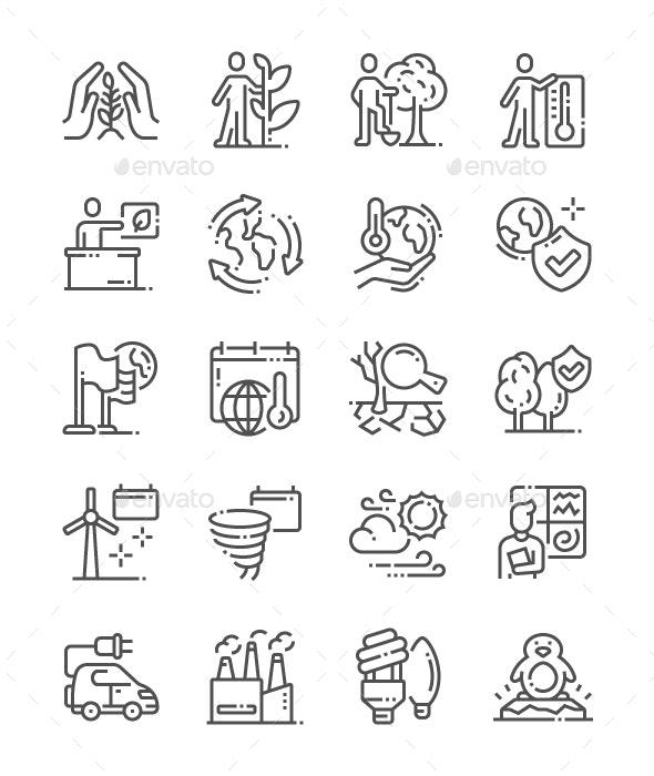 International Climate Day Line Icons - Seasonal Icons