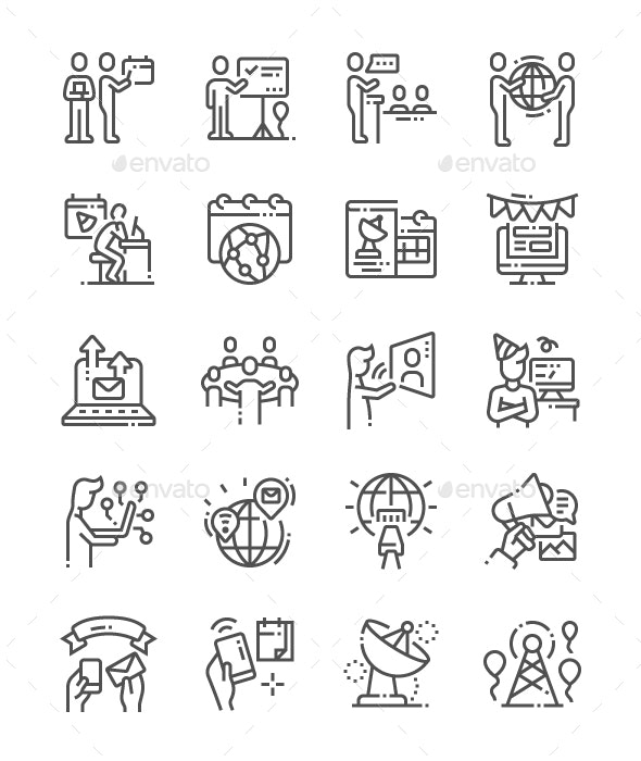 World Information Society Day Line Icons