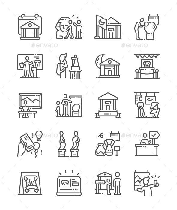International Museum Day Line Icons - Miscellaneous Characters