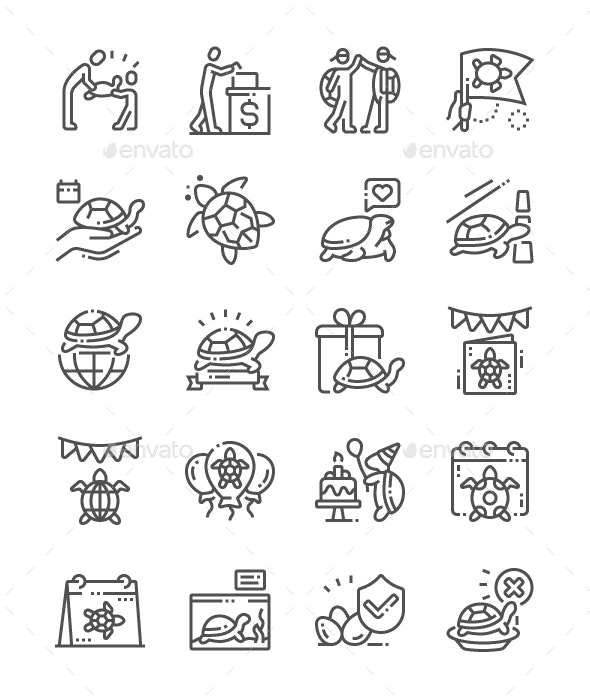 World Turtle Day Line Icons - Miscellaneous Characters