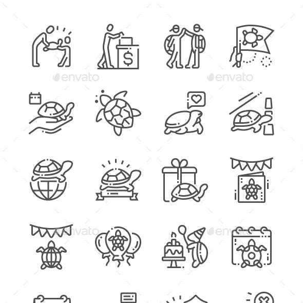 World Turtle Day Line Icons