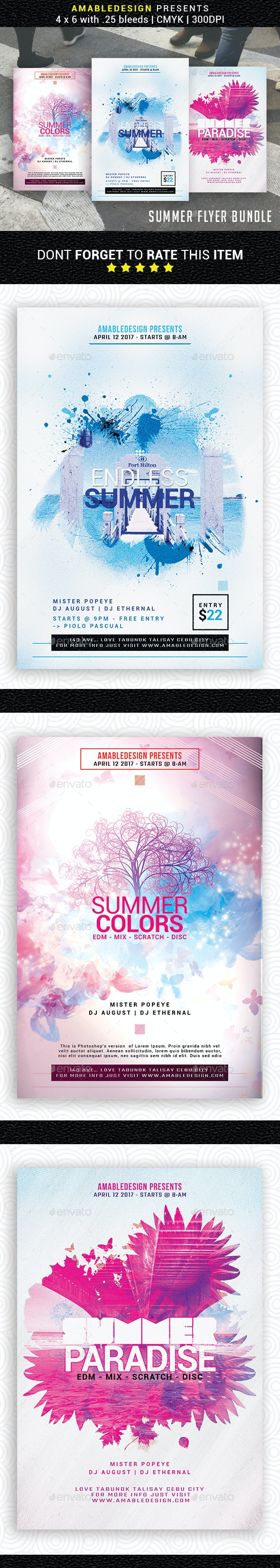 3 in 1 Summer Flyer/Poster Bundle - Events Flyers