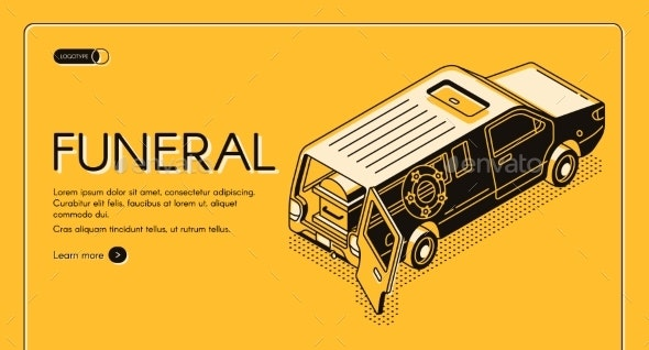 Funeral Service Isometric Vector Web Banner - Industries Business