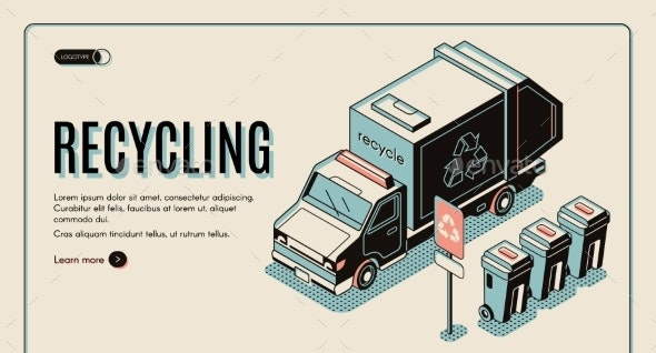 Garbage Recycling Banner with Truck Near Dustbins - Industries Business