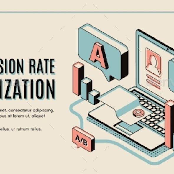 Conversion Rate Optimization Isometric Web Banner