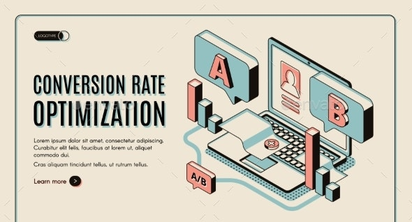 Conversion Rate Optimization Isometric Web Banner - Computers Technology