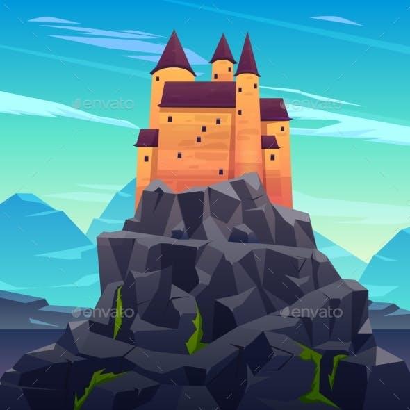 Medieval Ruler Castle in Mountains Cartoon Vector
