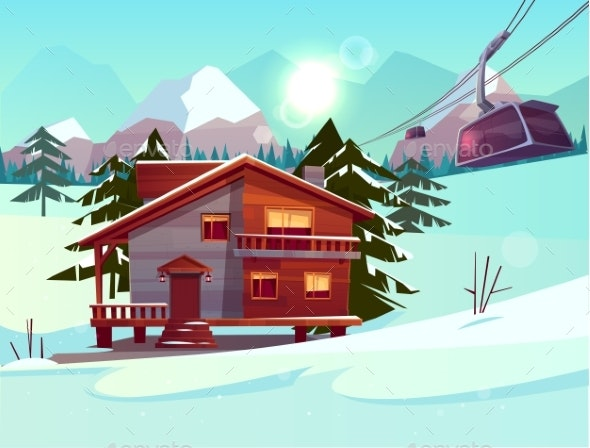 Ski Resort with House and Lifting Funicular Cabin - Sports/Activity Conceptual