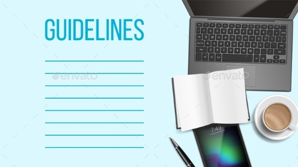 Guidelines Notepad Page Template With Text Space - Miscellaneous Vectors