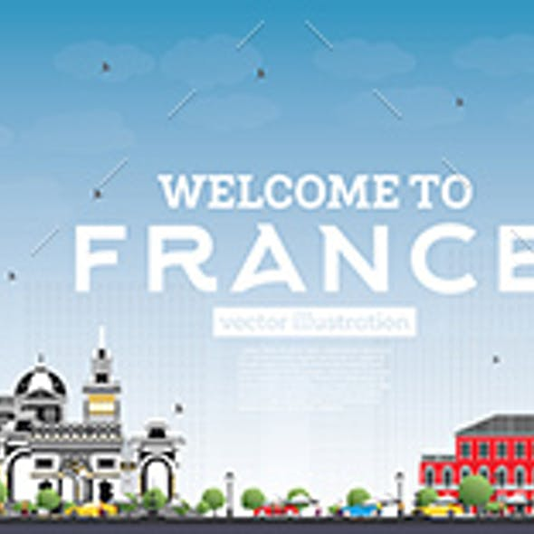 Welcome to France Skyline with Gray Buildings and Blue Sky
