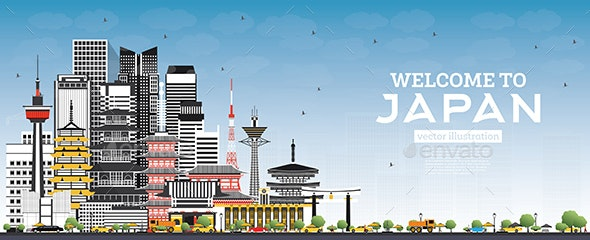 Welcome to Japan Skyline with Gray Buildings and Blue Sky - Buildings Objects