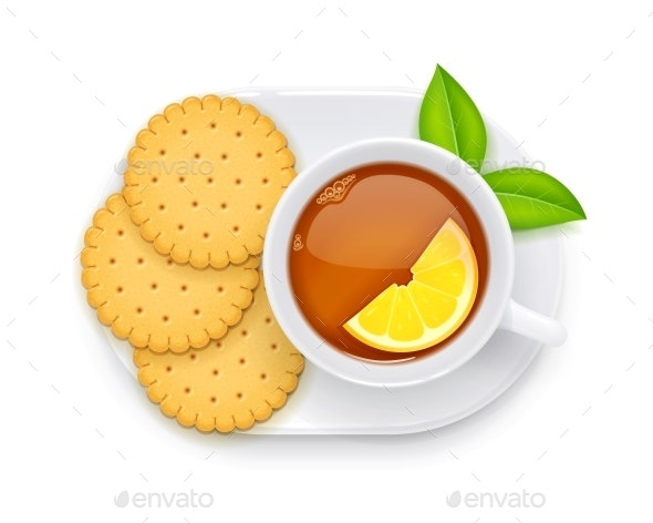 Tea Cup and Biscuit on Plate - Food Objects
