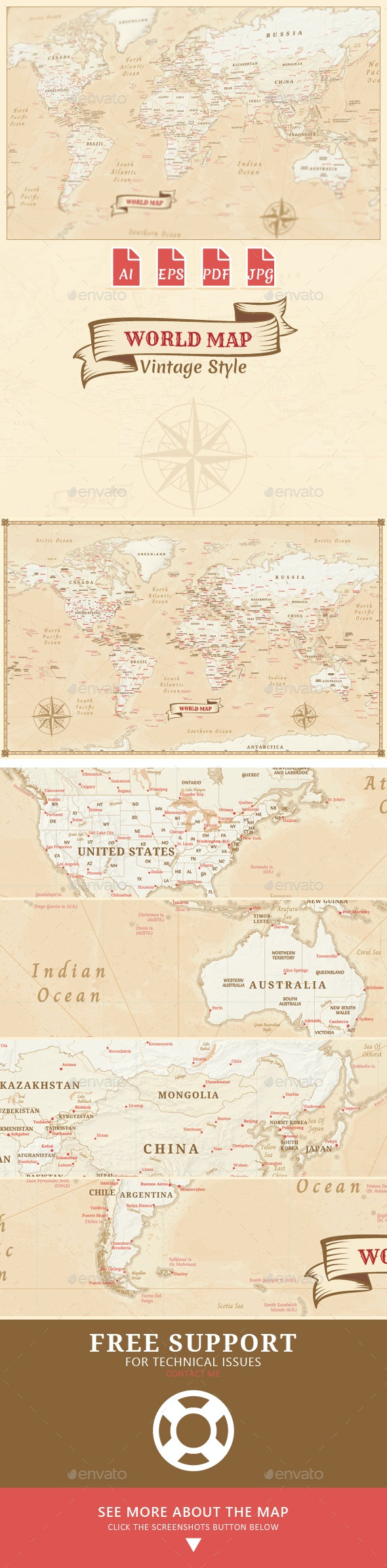 World Map - Vintage Style - Miscellaneous Vectors