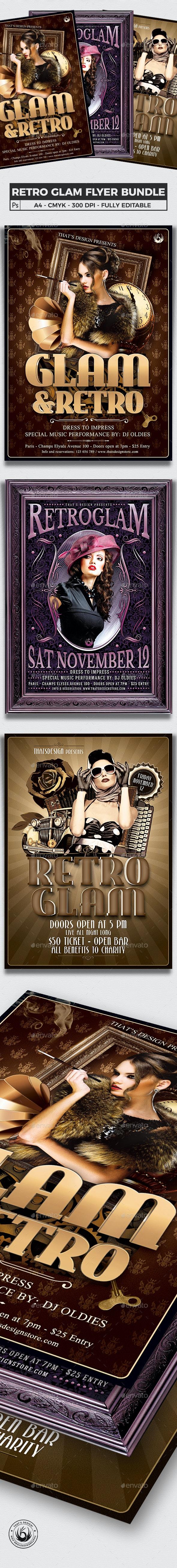 Retro Glam Flyer Bundle - Clubs & Parties Events