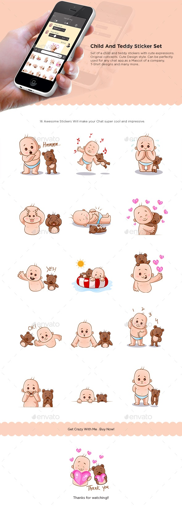 Child and Teddy Bear Sticker Set - People Characters