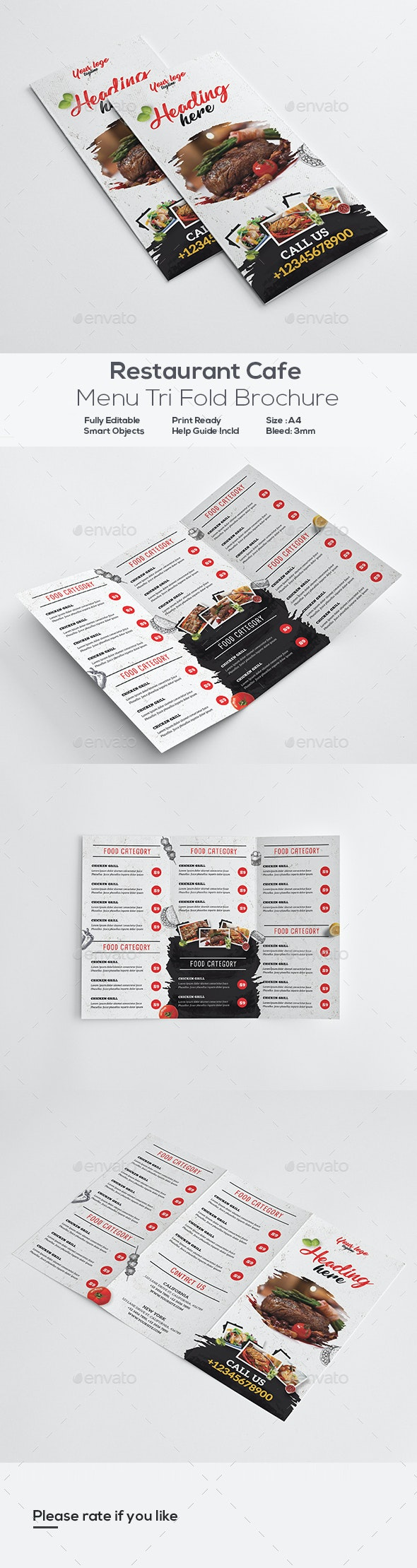 Restaurant Menu Trifold Brochure - Food Menus Print Templates