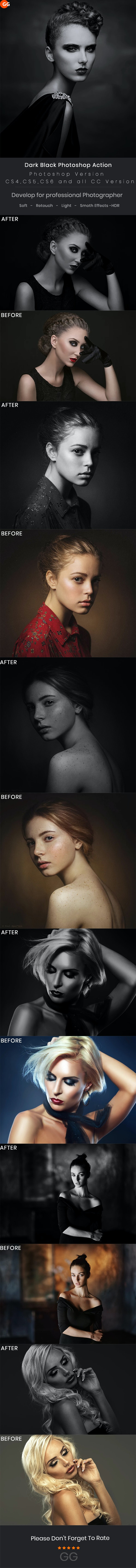 Dark Black Photoshop Action - Photo Effects Actions